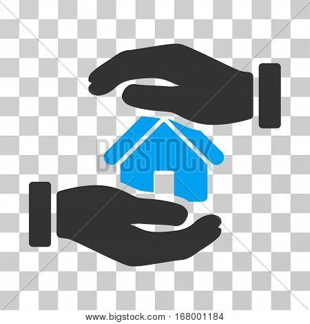 Realty Insurance icon. Vector illustration style is flat iconic bicolor symbol, blue and gray colors, transparent background. Designed for web and software interfaces.