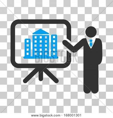 Realty Presention icon. Vector illustration style is flat iconic bicolor symbol, blue and gray colors, transparent background. Designed for web and software interfaces.