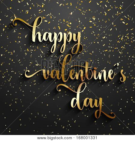 Valentine's Day background with gold confetti