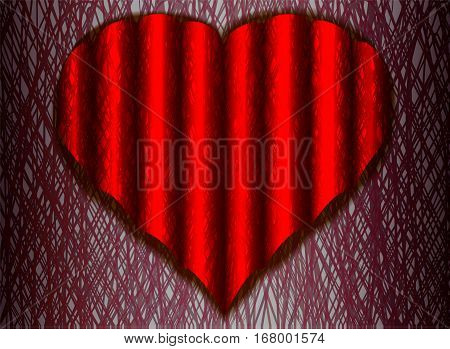 corrugated web of a heart on a white background shadow