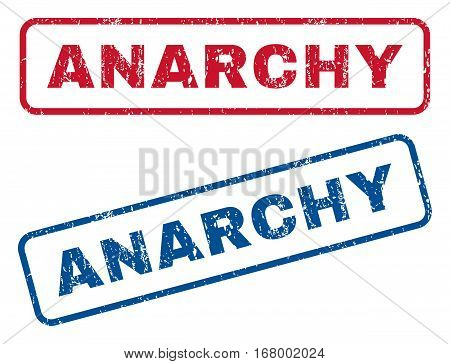 Anarchy text rubber seal stamp watermarks. Vector style is blue and red ink tag inside rounded rectangular shape. Grunge design and unclean texture. Blue and red stickers.