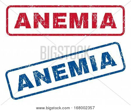 Anemia text rubber seal stamp watermarks. Vector style is blue and red ink caption inside rounded rectangular banner. Grunge design and dirty texture. Blue and red emblems.