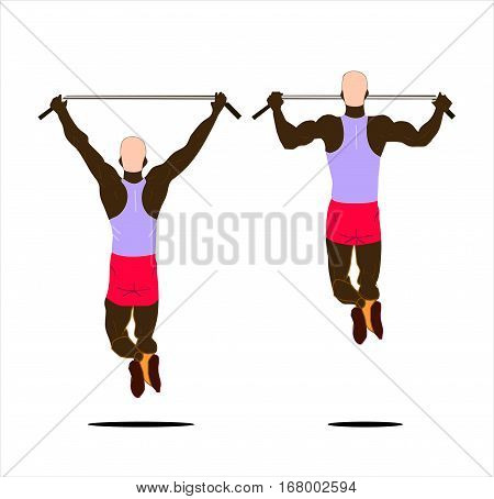 Black man on crossbar work out isolated.