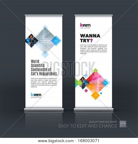 Abstract business vector set of modern roll Up Banner stand design template with rectangles, geometric shapes for exhibition, fair, show, exposition, expo, presentation, parade, events.