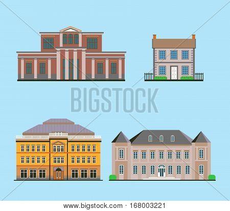 Vector Set Of Various Flat Historical Buildings
