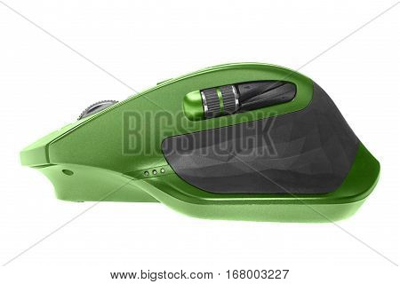 Wireless computer mouse. Green color. Isolated on white background, side view