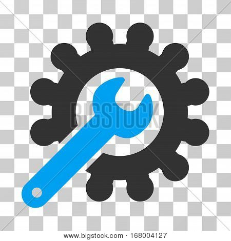 Wrench And Gear Customization Tools icon. Vector illustration style is flat iconic bicolor symbol, blue and gray colors, transparent background. Designed for web and software interfaces.
