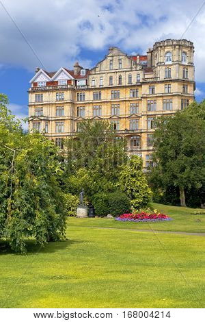 BATH, ENGLAND - JULY 28: the Empire Hotel, by architect Major Charles Edward Davis for the hotelier Alfred Holland  on July 28, 2015 in Bath, Somerset, England now converted to apartments