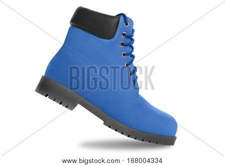 Blue boot. Side view. Isolated on white background
