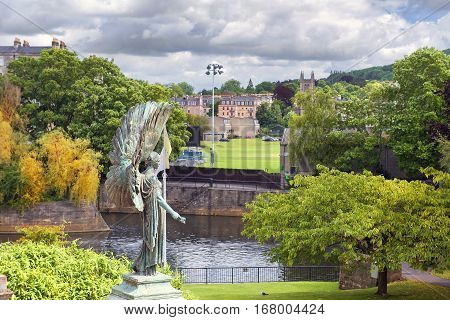 BATH, ENGLAND - JULY 28: statue of angel from King Edward VII Memorial in Parade Gardens on July 28, 2015 in Bath, Somerset, England