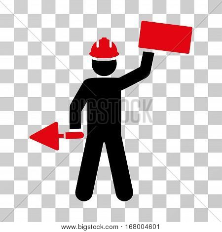 Builder With Brick icon. Vector illustration style is flat iconic bicolor symbol, intensive red and black colors, transparent background. Designed for web and software interfaces.