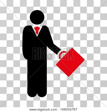 Businessman icon. Vector illustration style is flat iconic bicolor symbol, intensive red and black colors, transparent background. Designed for web and software interfaces.