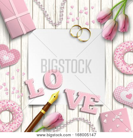 Romantic background with pink letters LOVE and other objects on white wooden pattern, inspired by flat lay style, vector illustration, eps 10 with transparency and gradient meshes