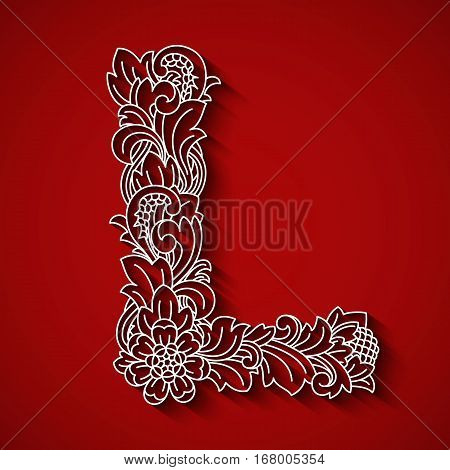 Paper cutting, white letter L . Red background. Floral ornament, balinese traditional style. EPS 10