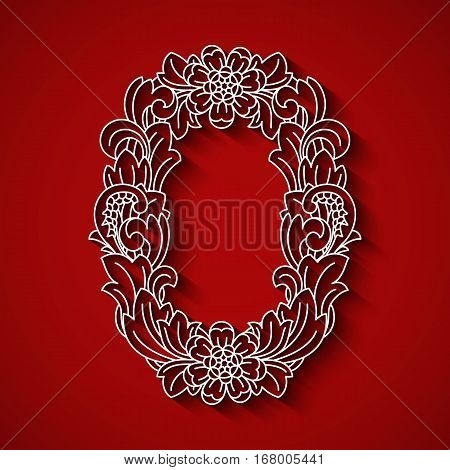 Paper cutting, white letter O . Red background. Floral ornament, balinese traditional style. EPS 10