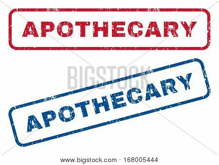 Apothecary text rubber seal stamp watermarks. Vector style is blue and red ink caption inside rounded rectangular shape. Grunge design and dirty texture. Blue and red stickers.