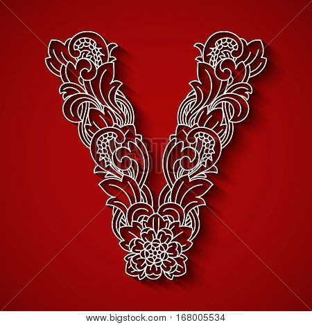 Paper cutting, white letter V . Red background. Floral ornament, balinese traditional style. EPS 10