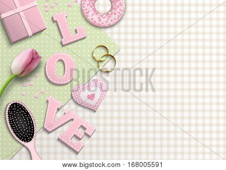 Romantic background with pink letters LOVE and other objects on green and beige gingham pattern, inspired by flat lay style, vector illustration, eps 10 with transparency and gradient meshes