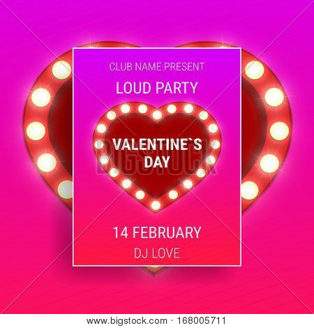 Valentines Day party poster with shiny light fluorescent heart and typography