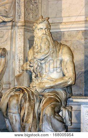 famous sculpture - Moses by Michelangelo, located in San Pietro in Vincoli basilica, Rome,Italy