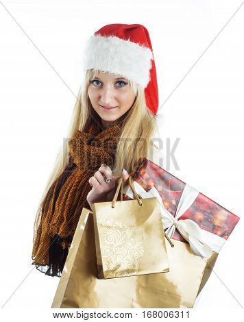 Picture of pretty christmas girl in santa hat, smiling isolated on white background
