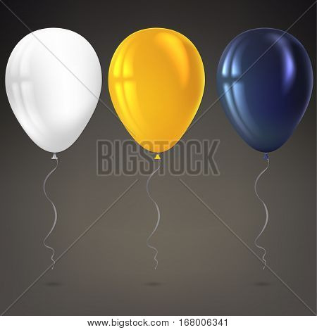 Inflatable air flying balloons isolated on dark background. Close-up look at black, white and yellow balloons with reflects. Realistic 3D vector illustration