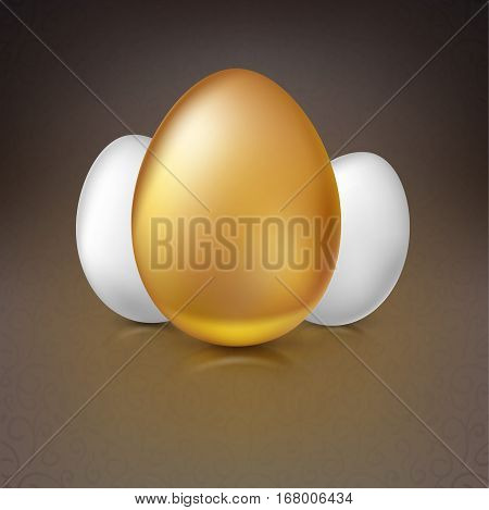 Golden and white Easter eggs with reflections and reflexes, volumetric 3D vector illustration. Party invitation template. Perfect for greeting card or elegant party invitation.