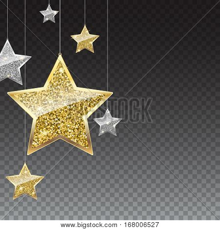 Glitter background with silver and gold hanging stars. Merry Christmas, Happy New Year greeting card on transparent background. Template for vip banners or card, exclusive certificate, luxury voucher