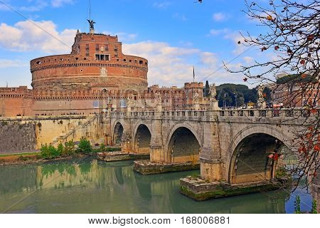 views of the Castle Sant'Angelo and the bridge Sant'Angelo, across the river Tiber, Rome, Italy