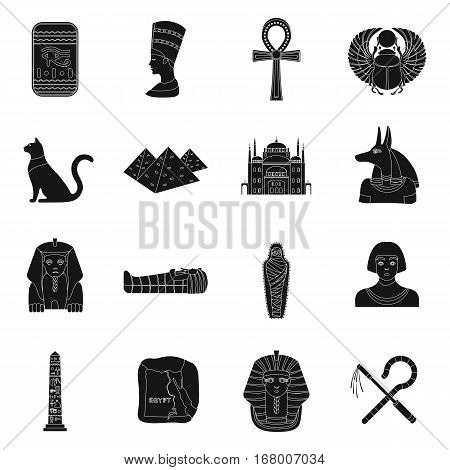 Ancient Egypt set icons in black design. Big collection of ancient Egypt vector symbol stock illustration