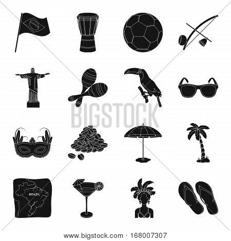Brazil country set icons in black design. Big collection of Brazil country vector symbol stock illustration