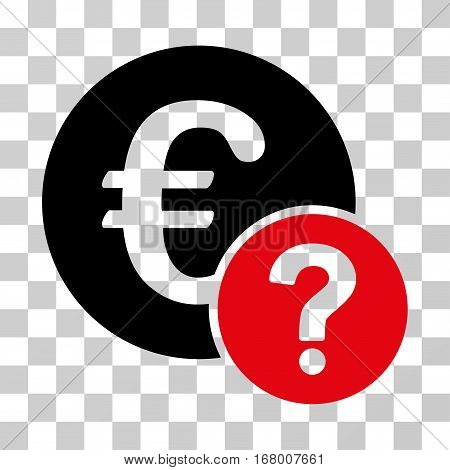 Euro Status icon. Vector illustration style is flat iconic bicolor symbol, intensive red and black colors, transparent background. Designed for web and software interfaces.