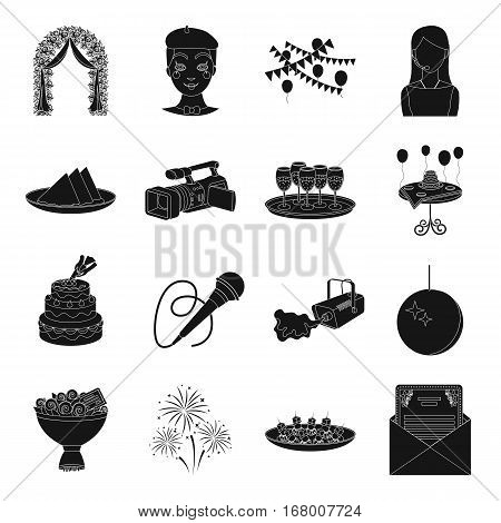 Event service set icons in black design. Big collection of event service vector symbol stock illustration