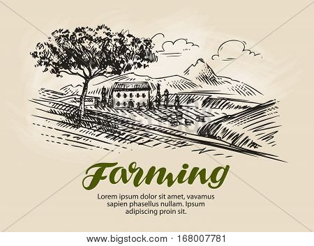 Farm sketch. Agriculture, rural landscape farming vector