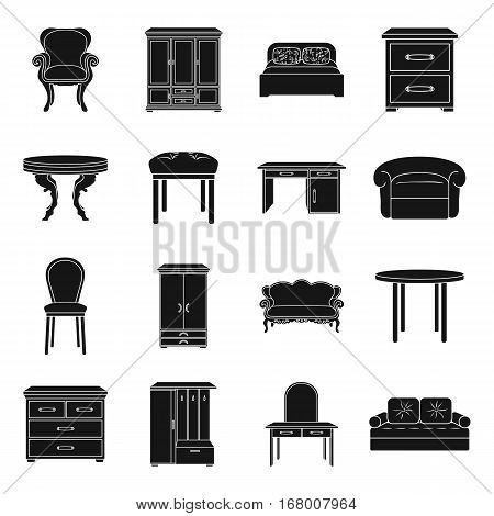 Furniture and home interior set icons in black design. Big collection of furniture and home interior vector symbol stock illustration