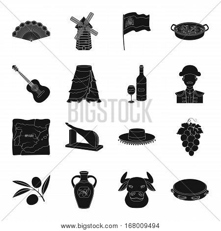 Spain country set icons in black design. Big collection of Spain country vector symbol stock illustration