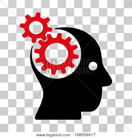 Intellect Gears icon. Vector illustration style is flat iconic bicolor symbol, intensive red and black colors, transparent background. Designed for web and software interfaces.