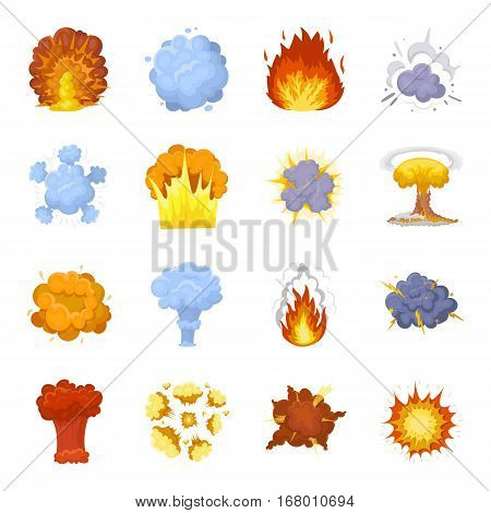 Explosions set icons in cartoon design. Big collection of explosions vector symbol stock illustration