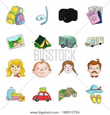Family holiday set icons in cartoon design. Big collection of family holiday vector symbol stock illustration