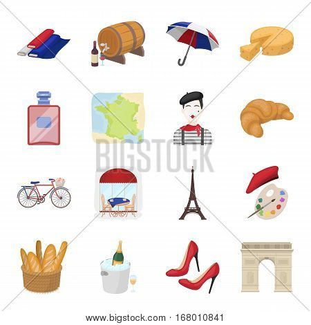 France country set icons in cartoon design. Big collection of France country vector symbol stock illustration