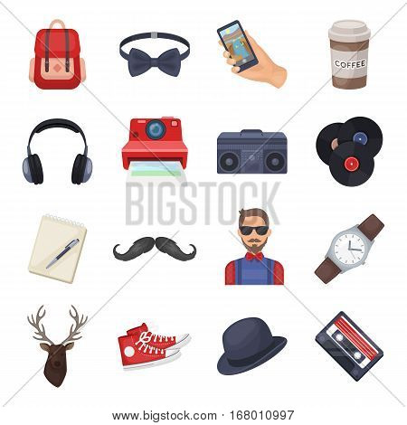Hipster style set icons in cartoon design. Big collection of hipster style vector symbol stock illustration