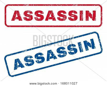 Assassin text rubber seal stamp watermarks. Vector style is blue and red ink caption inside rounded rectangular banner. Grunge design and unclean texture. Blue and red signs.