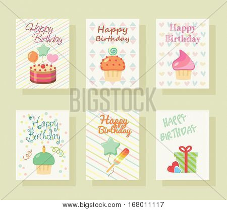 Happy birthday invitation card. Baby Greeting postcard. Happy birthday background. Design template. Poster Happy birthday