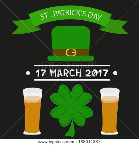 St. Patrick's Day vector design elements set.  Beer happy celebration decoration. Ireland holiday patrick day leprechaun symbols.