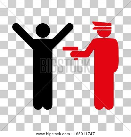 Police Arrest icon. Vector illustration style is flat iconic bicolor symbol, intensive red and black colors, transparent background. Designed for web and software interfaces.