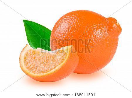 Mandarin or Mineola with leaf isolated on white background.