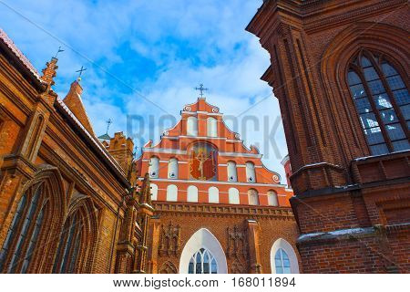 Beautiful Gothic Style St. Anne Church in VIlnius, Lithuania on a Beautiful winter Day