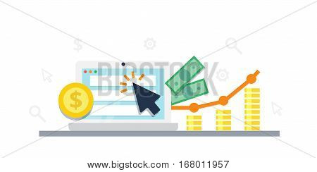 Pay Per Click internet marketing concept - flat vector illustration. Graph, monitor, big arrow and money. PPC advertising and conversion.