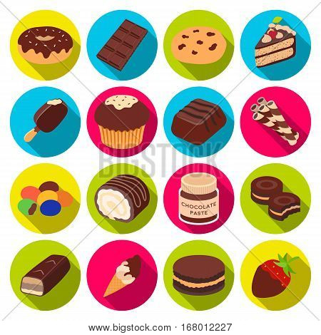 Chocolate desserts set icons in flat design. Big collection of chocolate desserts vector symbol stock illustration