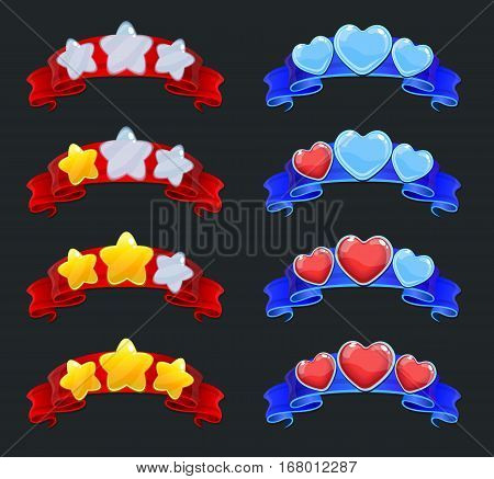 Cartoon game ranking elements set with glossy stars and hearts on red and blue ribbons isolated vector illustration